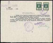 Croatia, NDH, Kroatien, Svjedočba (Certificate) Document with Revenue Stamps