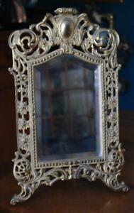 BRADLEY & HUBBARD #3598 VICTORIAN ORNATE BRASS EASEL BEVELED MIRROR W WALL RING
