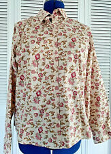 Womens Eddie Bauer Wrinkle Resistant Large Pink/Cream Stretch Shirt Blouse