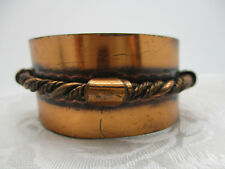 VINTAGE ESTATE JEWELRY OLD SOLID COPPER WIDE CUFF BRACELET TWISTED ROPE DESIGN