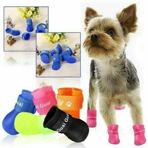 4Pcs Anti-Slip Pet Boots Dog Waterproof Shoes Protective Rain Booties Sock UK