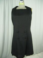 Vtg 60s Black Linen Square Neck Collar Buttons Sheath Dress-Bust 39/M