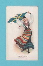 NATIONS - WILLS SCISSORS -  RARE  FLAG  GIRLS  CARD  -  SWEDEN  -  1908