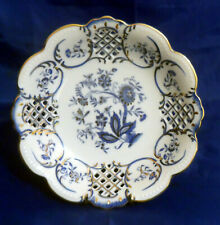 "Blue Onion Design w/ Gold Rim & Accents Scalloped Pierced 9"" Serving Bowl Dish"