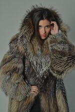 Crystal Fox Fur Coat Hooded Women's Handmade Brand New /шубы