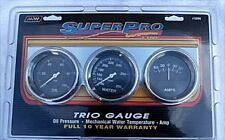 "Super Pro #5099 Triple Gauge Set New Oil, Water, Amp Chrome Panel 2&5/8"" Gauges"