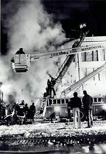 1975 Original Photo Chicago Fire Department & Trucks at 320 North Michigan Ave.
