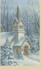 Cross stitch chart  Ideal Christmas Card -Christmas Church FlowerPower37..