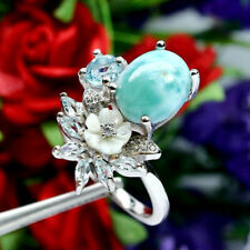 NATURAL 9 X 11mm. BLUE LARIMAR TOPAZ MOTHER OF PEARL CARVED & CZ RING 925 SILVER