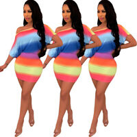 New Women Colorful Printed Oblique Shoulder Short Sleeve Bodycon Club Mini Dress