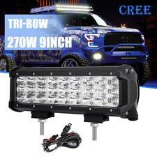 """9"""" 270W TRI-ROW CREE LED Work Light Bar Combo Offroad FOR JEEP JK TJ LJ YJ CJ 10"""