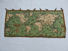 Vintage French Beautiful Printed World Map Scene Tapestry 91x42cm (T621)