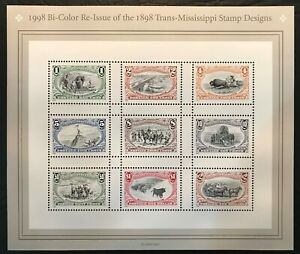 1998 Scott #3209a-i - 1¢ - $2.00 TRANS-MISSISSIPPI - Sheet of 9 - Mint NH