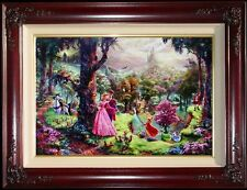 "Thomas Kinkade Sleeping Beauty 18"" x 27"" S/N Limited Framed Disney Canvas"