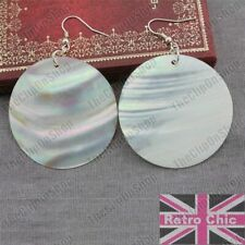 BIG beautiful 5cm DISC white MOP SHELL EARRINGS mother of pearl natural round
