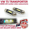 VW T5 T5.1 T6 Caddy Transporter LED Number plate bulb replacement set