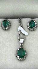 Natural Emeralds 3.10cts Diamonds 0.9cts Pendant & Earrings set Handcrafted New