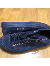 Ladies' Converse All Star low, dark blue suede, gold details, UK 5, great cond.