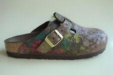 new BIRKENSTOCK Leather Mules Clogs BOSTON Flower Crush Mocca US5 EU36 UK3.5 N