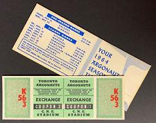 1964 Toronto Arogonauts Season Schedule + Unused Playoff Ticket Vintage CFL