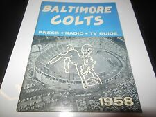 1958 NFL FOOTBALL MEDIA GUIDE BALTIMORE COLTS VERY RARE AND COOL CHAMPIONSHIP YR