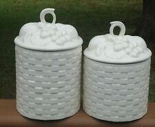 Pretty Canister Container x 2 *Ivory Cream Embossed Basketweave Pattern