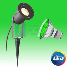 GREEN LED GU10 DIRECTIONAL BLACK GARDEN SPIKE LIGHT OUTDOOR WALL SPOTLIGHT IP44