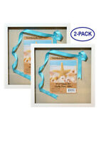 """(2-Pack) 12x12"""" White Display Shadow Box Frame 8 Push Pins a Linen Background"""