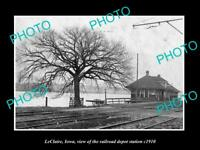 OLD LARGE HISTORIC PHOTO OF LECLAIRE IOWA, THE RAILROAD DEPOT STATION c1910