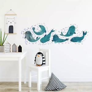 Cute Sea Lion Combination Wall Stickers Decor Mural Art Wall Decals Wallpaper