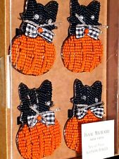 Isaac Mizrahi Halloween Plaid Ribbon Cat Pumpkin Napkin Rings Set Of 4