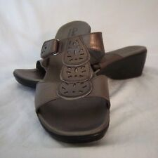 Clarks Bendables Womens Sandals Size 11 M Adjustable Slides Leather Metallic