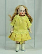 Antique German All Bisque Doll House Doll with Painted Eyes Jointed Arms