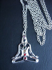 """A Chakra Stones Buddha Pendant 30"""" Long Necklace - Tibetan Buddhist Healing"""