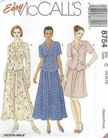 McCall's 8754 Misses' Unlined Jacket and Skirt 10, 12, 14   Sewing Pattern