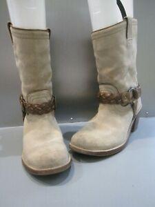 Frye Carmen Women's Beige Suede Braided Harness Boots Short 7.5 Flash Sale!