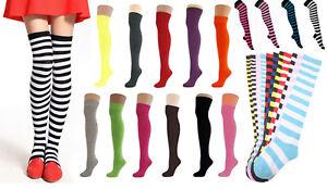 Ladies Striped  & Plain Over The Knee Socks  Coloured Fancy Dress