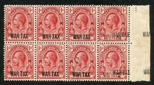 Turks and Caicos SG140/ab 1d red WAR TAX Block inc TWO PAIRS opt Doubled