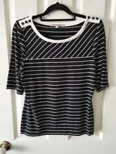 Review Formal Black and White Striped Short Sleeve Blouse Top Size 12