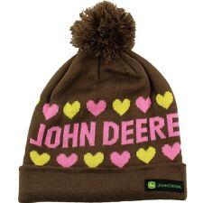 John Deere Girls Hearts Brown Youth Beanie Hat FGC283B O/S