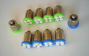 AMC 10 Green Blue BRIGHT 12V LEDs Blinker Hi Beam BA9S Bayonet Light Bulbs NOS