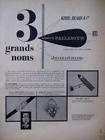 PUBLICITÉ DE PRESSE 1953 PALLADIUM MÉTAUX PRÉCIEUX JAEGER-LECOULTRE -ADVERTISING