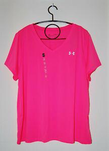 NWT Under Armour Womens Plus Neon Hot Pink V-Neck Tech HeatGear SS T-Shirt sz 1X