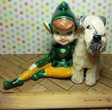 Soft Coated Wheaten Terrier Dog and Leprechaun Ceramic Sculpture Figurine Statue