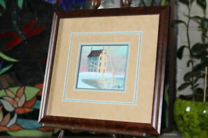 """Tiny 4"""" house print ?? P. Buckley Moss signed & numbered 2011, nicely framed"""