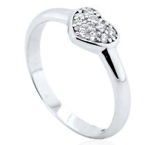 STERLING SILVER BABY RING CZ HEARTS PAVE CUBIC ZIRCONIA BAND BOX LARGE SIZES