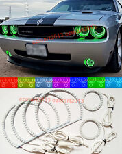 RGB For Dodge Challenger Fog Lights 6 Halo Rings LED Angel Eyes Demon Devil DRL