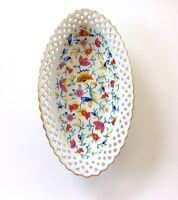 Vintage Porcelain Floral Reticulated Oblong Bowl Gold Trim Germany Lacey