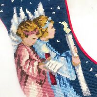 Needlepoint Holiday Christmas Angels w/Candles Christmas Stocking Red Velvet