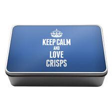 BLUE Keep Calm and Love Crisps Metal Storage Tin Box 1011